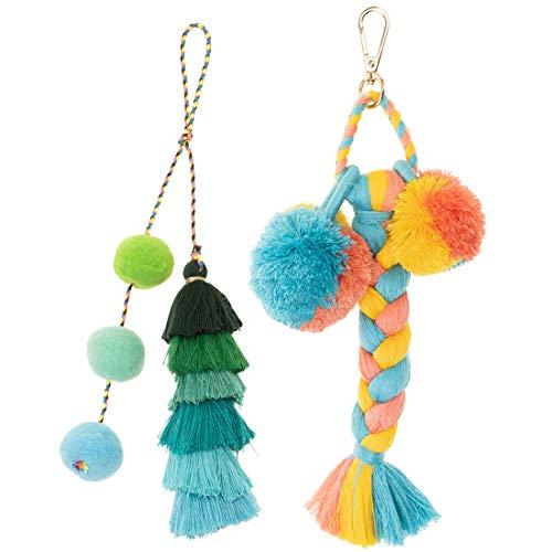 (Tassels Pom Poms Keychain, Bohemian Handbag Bags Pendant Key Chain Rings (Braid))