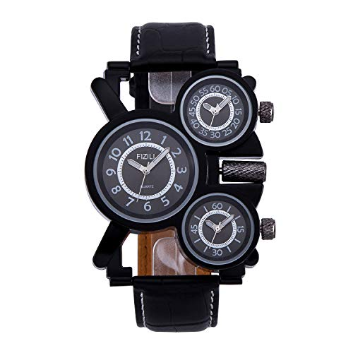 Mens Big Face Unique Military Watch - Three Black Analog Dials, Japan Quartz & Genuine Strap ...