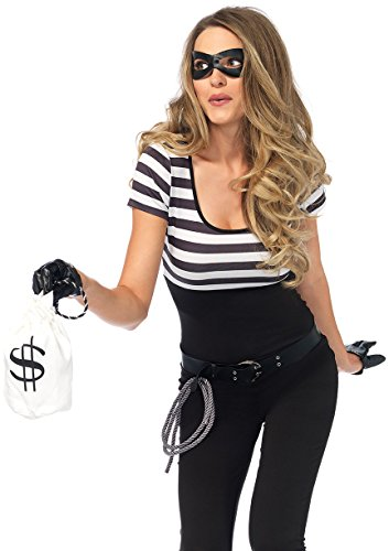 Leg Avenue Women's Bank Robber Thief Costume, Black/White, -