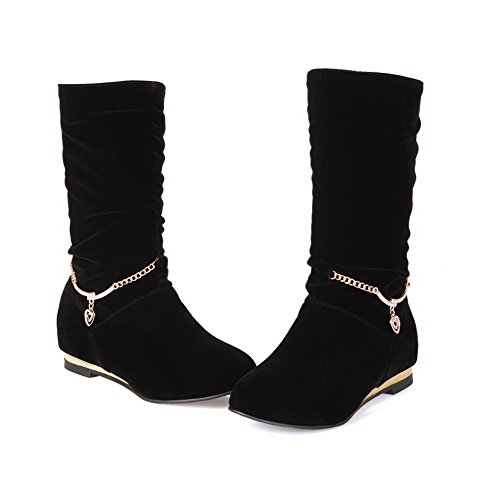 Frosted Ladies Square Metal Chain On Pull Heels AdeeSu Boots Black dxF0twOqP