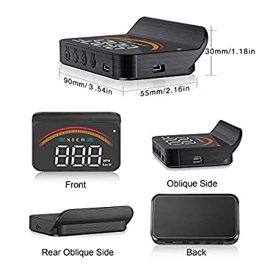 Car HUD Display, iKiKin HUD Head Up Display GPS OBD2 Dual USB Interface with Alarm Systems & Security Digital Windshield Projector for All Vehicles: Car Electronics