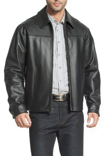 BGSD Men's Greg Open Bottom Zip Front Leather Jacket - Black XXL