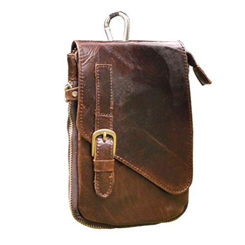 Le'aokuu Mens Genuine Leather Coffee Fanny Small Messenger Shoulder Satchel Waist Bag Pack (Coffee) -