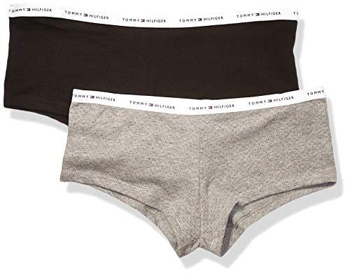 Dot Boyshorts Panties - Tommy Hilfiger Women's Cotton Boyshort Underwear Panty, Multipack, Pin Dot Heather Grey, Black-2 Pack, X-Large