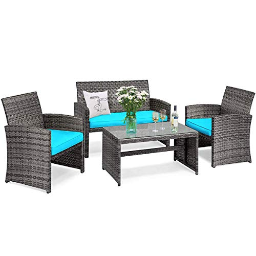 Goplus Rattan Furniture Set, 4 Pieces Outdoor Wicker Conversation Sofa Set with Cushions and Table for Garden Yard Patio…