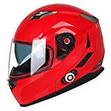 FreedConn Bluetooth Motorcycle Helmets (Red, X-Large)