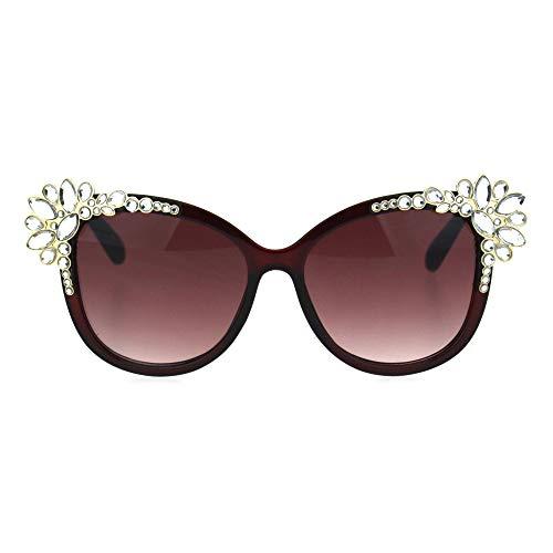 Womens Large Rhinestone Jewel Trim Plastic Butterfly Sunglasses Burgundy