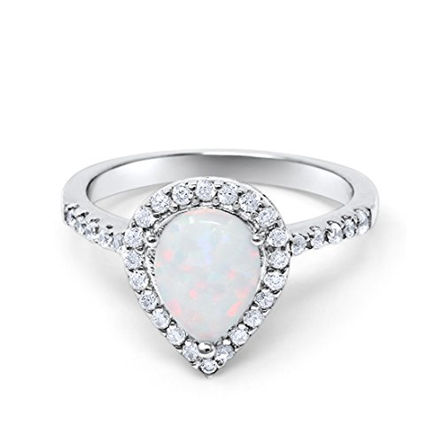 Blue Apple Co. Halo Teardrop Bridal Filigree Ring Pear Created White Opal Round CZ 925 Sterling Silver, Size-7