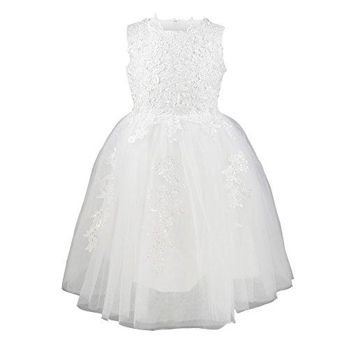 Girls Princess Flower Lace Dress Wedding Party Gown Bridesmaid Tulle Skirt, White, 4 (White Flower Girl Dresses)