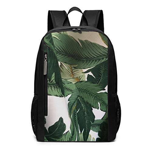 Polyester Dark Green Palm Leaves Beverly Hills Banana Leaves Outdoor Travel Laptop Backpack Travel Accessories, Fashionable Backpack Suitable for 17 Inches