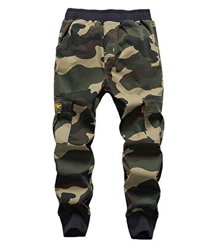 YoungSoul Boys Camo Trousers Elastic Waist Kids Cargo Joggers