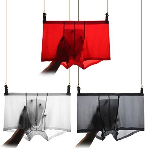 Calzoncillos ropa interior de fibra de bambú transpirable de seda fina transparente Briefs,L,XL Greatlpk E