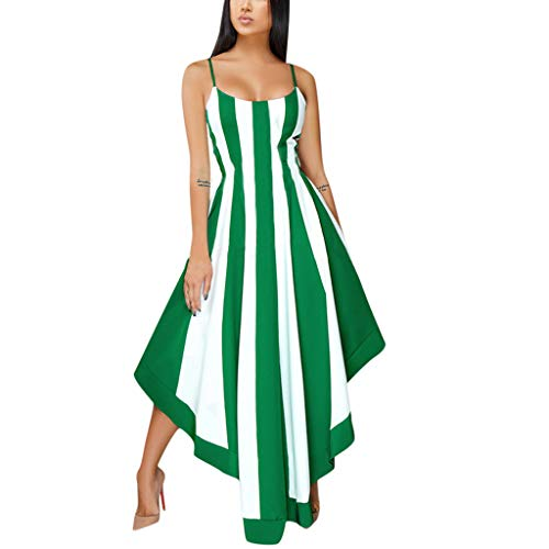 Sinfu 2019 New Women's Summer Sleeveless Striped Print Asymmetrical Party Dress with Belt Green