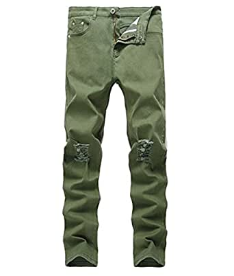 OBT Boy's Army Green Stretch Skinny Fit Ripped Destroyed Distressed Fashion Slim Denim Jeans 8