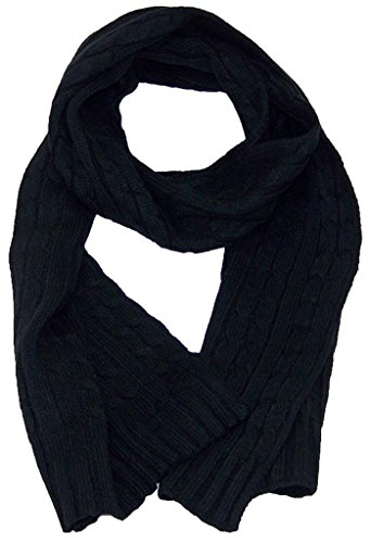 Long Knit Cable Scarf (Angela & William Adult Tight Cable Knit Scarf 64