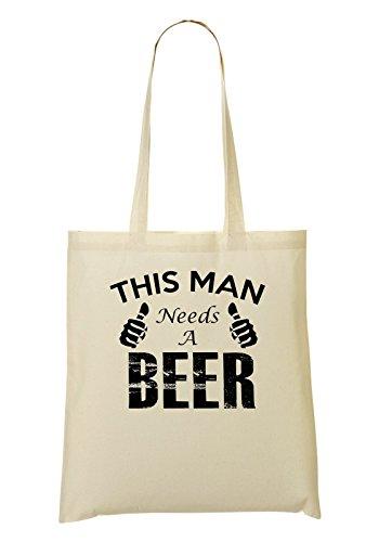 This Man Need A Beer's Handbag Shopping Bag