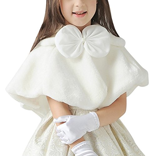 Kidlove Girls Faux Fur Princess Shrug Crop Cape Coat for Wedding Gown White by YTQ