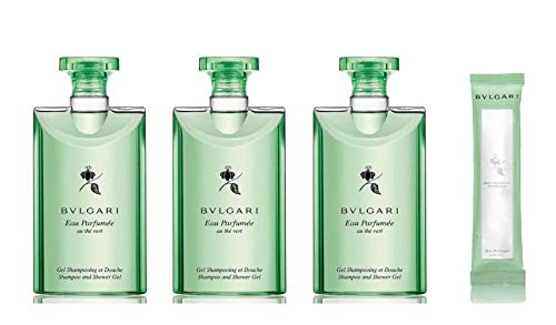 Bvlgari Au The Vert (Green Tea) Shampoo and Shower Gel Plus Towelette - Set of 3, 2.5 Fluid Ounce Bottles Plus Towelette
