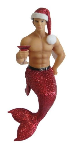 December Diamonds Jingle Merman Christmas Holiday Ornament,Red - New for 2013