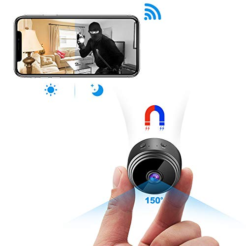 Spy Camera Wireless Hidden Camera, Latest A17 HD 1080P WiFi Mini Camara Espias with 150 Wide Angle, Portable Wireless Covert Nanny Cam with Night Vision/Motion Detection for Home Security Monitoring