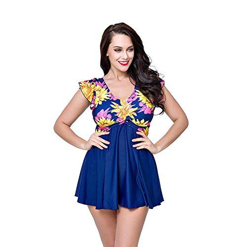 fd90fc51baadb U.R.dream Women s Plus Size Swimwear Elegant One Piece Swimdress Long Torso  Swimsuits 4XL~8XL high-quality