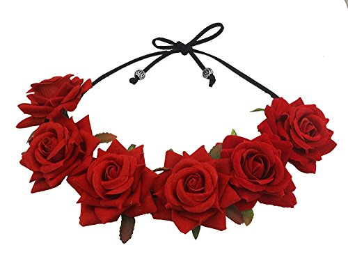 Floral Fall Rose Red Rose Flower Crown Woodland Hair Wreath Festival Headband F-67 (3-Red) ()