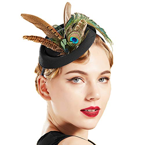 BABEYOND Fascinator Hats for Women Tea Party Kentucky Derby Fascinator Hat Pillbox Hat Peacock Feather Fascinator Headband for Cocktail (Black)