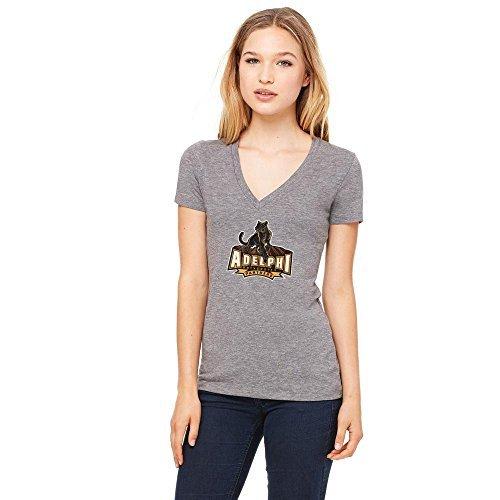 NCAA Adelphi University Panthers Women's Distressed Logo Design Short Sleeve 50/V-Neck Shirt, Large