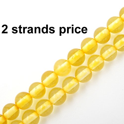 Precious gemstone beads for jewelry making, 100% natural AAA grade, sold per bag 2 strands inside (Golden Amber, 4mm) - Aaa+ Natural