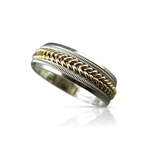 Milano Jewelers Wide 14KT White & Yellow Gold Rope MILGRAIN Wedding Band Ring 6mm #23396