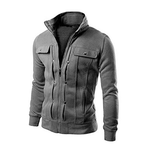 MRstriver Jacket Causal Men's Coat Zipper Tracksuit Jacket Spring Autumn Mens Jackets and Coats New Dark Gray Thick XXL (Track Cashmere Jacket)