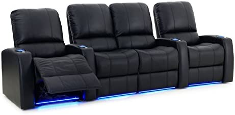 Blaze XL900 Home Theatre Furniture – Black Premium Leather – USB Charging Port – Memory Foam – Accessory Dock – Lighted Cups – Power Recline – Straight Row 4 with Middle Loveseat