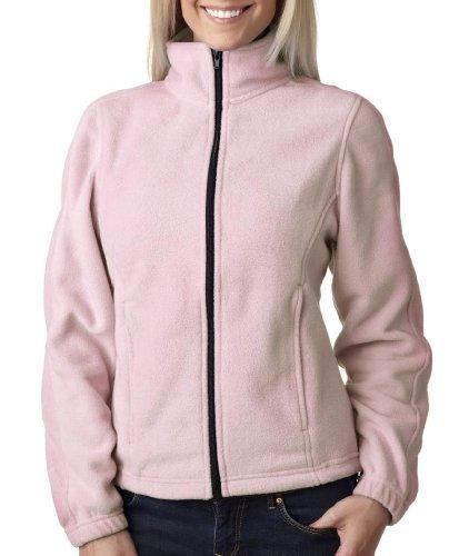 UltraClub Ladies' Iceberg Fleece Full-Zip Jacket, Pink, L