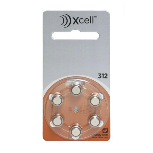 Rayovac Mercury Free Xcell Size 312 Hearing Aid Batteries (60 Batteries) + Battery Holder Keychain Kit by Xcell