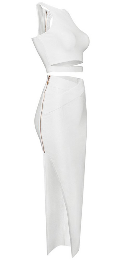 Hego Women's Celebrity Style Women's Cropped Top Split Bodycon Skirt 2 Piece Bandage Club Dress H1255 (XS, White) by Hego