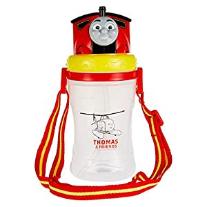 Thomas Silicone Tritan Plastic 3D Water Bottle with Strap, White and Yellow