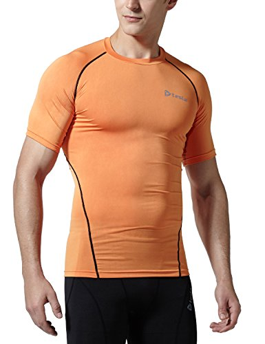 TM-R13-ORKZ_Medium j-RAL Tesla Men's Cool Dry Compression Baselayer Short Sleeve T Shirts R13 - Sleeve Base Short Performance