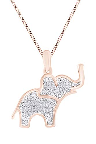 Round White Natural Diamond Elephant Pendant Necklace in 14K Rose Gold Over Sterling Silver (0.13 ()