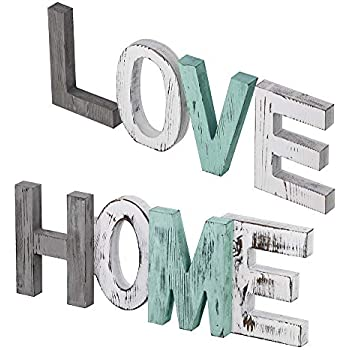 Supla Home Sign Decor Love Sign Decorative Wood Word Signs Decor Rustic Wooden Letters Signs for Seasonal Holiday Table Decor Centerpiece