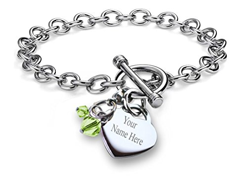 CoolRings Personalized Charm Bracelet Simulated Birthstone Crystal Charm Heart Toggle Stainless Steel 7.5