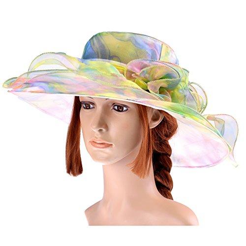 Vbiger Kentucky Derby Hats Church Hat Organza Tea Party Wedding Hat (Multi-color)
