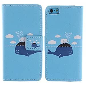 Cartoon Whales and Elephants Pattern PU Leather Full Body Case with Stand and Card Slot for iPhone 5C
