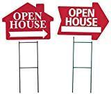 OPEN HOUSE Sign Combo Kit - Open House- House Shaped Sign & Open House Arrow Shaped Sign Kit - (includes 1 of each house and arrow shaped sign and 2 stakes) (Red)