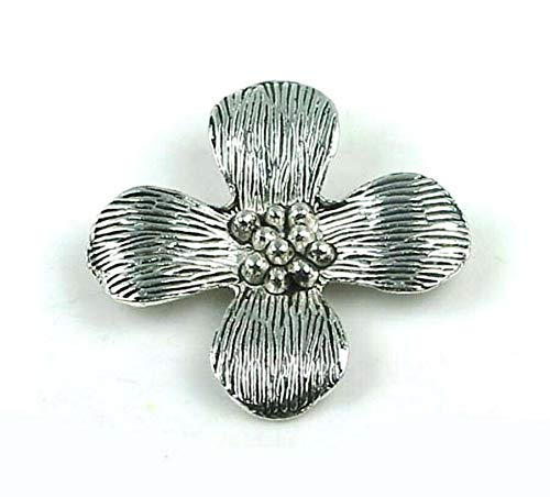 (1 Pendant) 40mm Antique Silver Pewter Thai Karen Style Flower Pendant