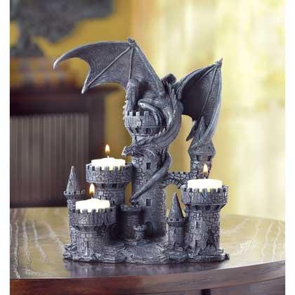 Smart Living Company Dragon Candles Holder Tealight Menorah Unity Pillar Lantern Dining Votive Western Gothic Centerpiece Decor, Multicolor