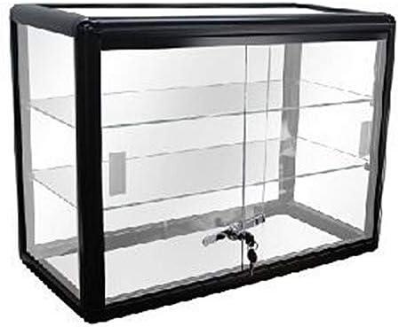30 W x 18 D x 9 H Black HK FIXTURES Commercial Grade Elegant Countertop Black Aluminum Display Showcase