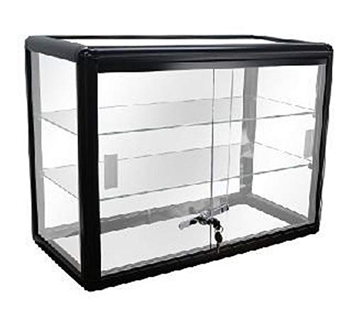 Elegant Black Aluminum Display Table Top Tempered Glass Show Case. Sliding Glass Doors with Lock