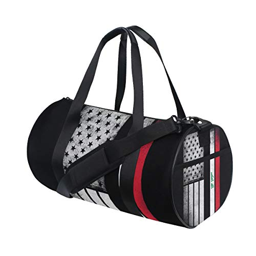 Sports Gym Bag with Iraqi American Flag Print, Travel Weekender Duffle Bag for Men Women