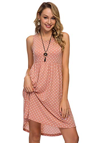 (Women's Short Sleeve Flare Midi Dress Summer Loose Casual Swing Dress with Pockets in Dot and Floral (S, Pink dot 803))