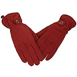 OZERO Running Gloves, Deerskin Suede Leather Touchscreen Winter Ski Glove - Sensitive Touch Screen Fingertips and Silky Velour Fleece Lining - Warm Hand in Cold Weather for Girls/Women (Red,X-Large)